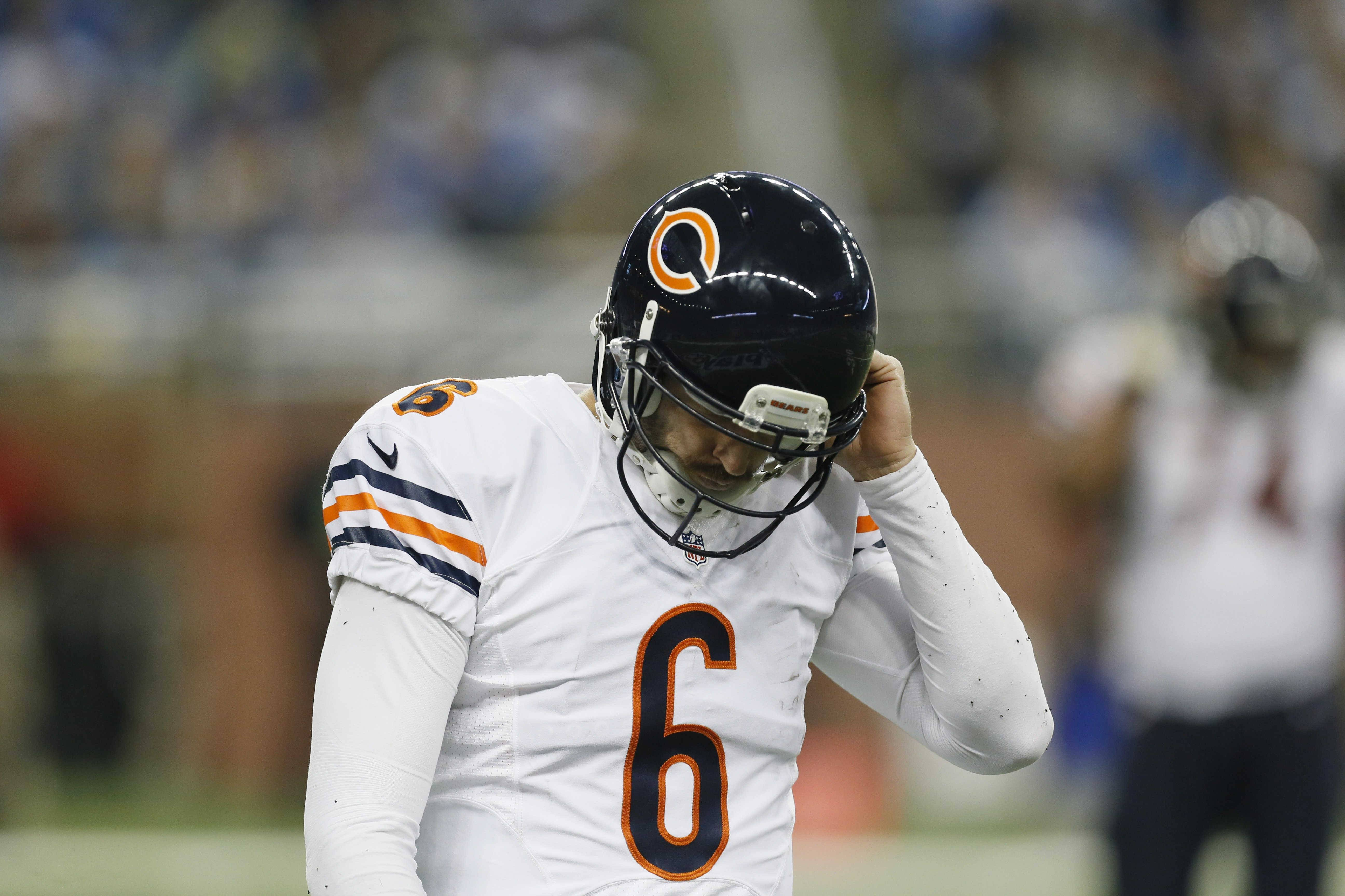 Bears quarterback Jay Cutler walks back to the sideline during the second half of Thursday's 34-17 loss to the Lions in Detroit.