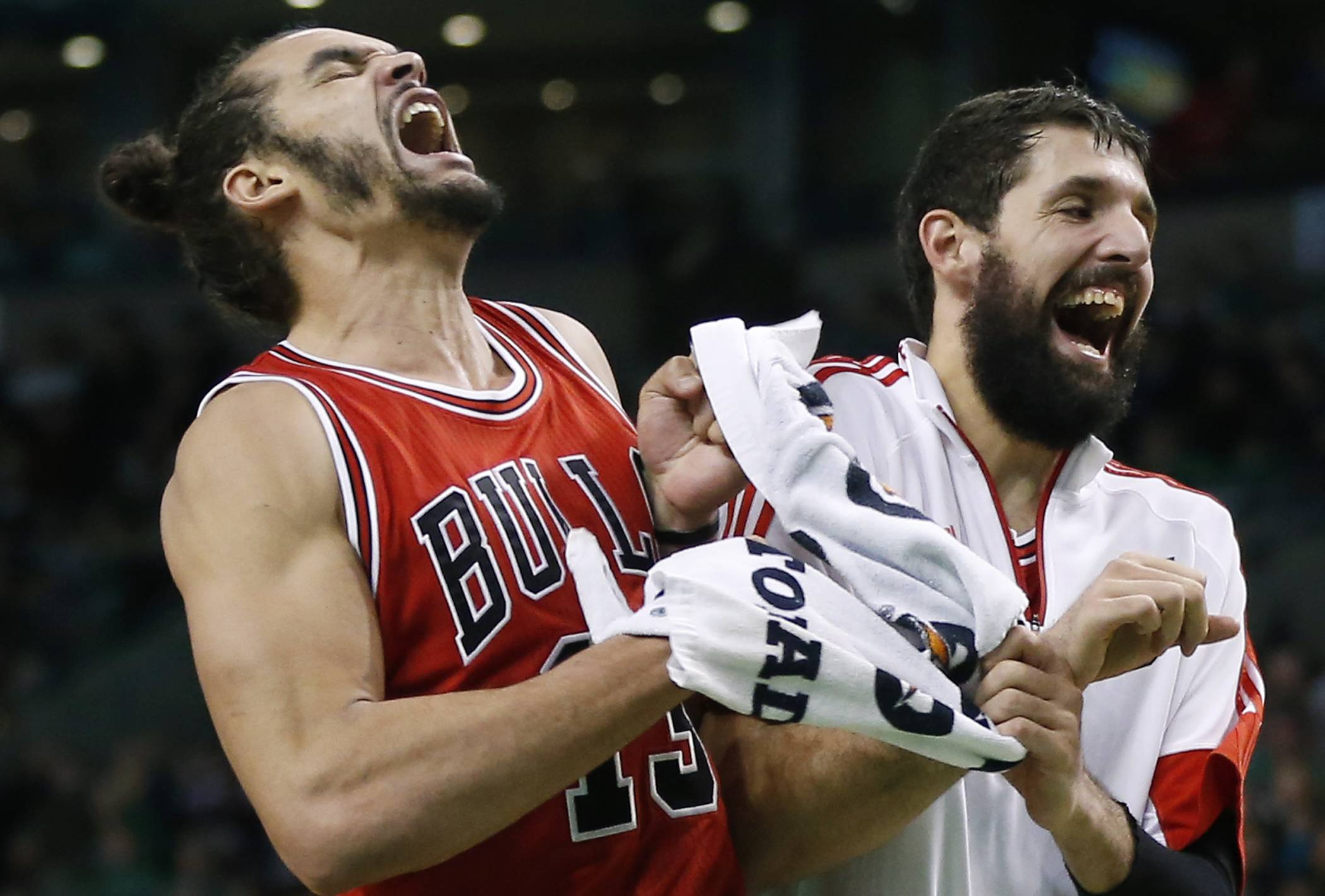 Chicago Bulls center Joakim Noah, left, celebrates with teammate Nikola Miroticin after making a crucial basket in the last minute of a basketball game against the Boston Celtics in Boston, Friday, Nov. 28, 2014. The Bulls won 109-102. (AP Photo/Elise Amendola)