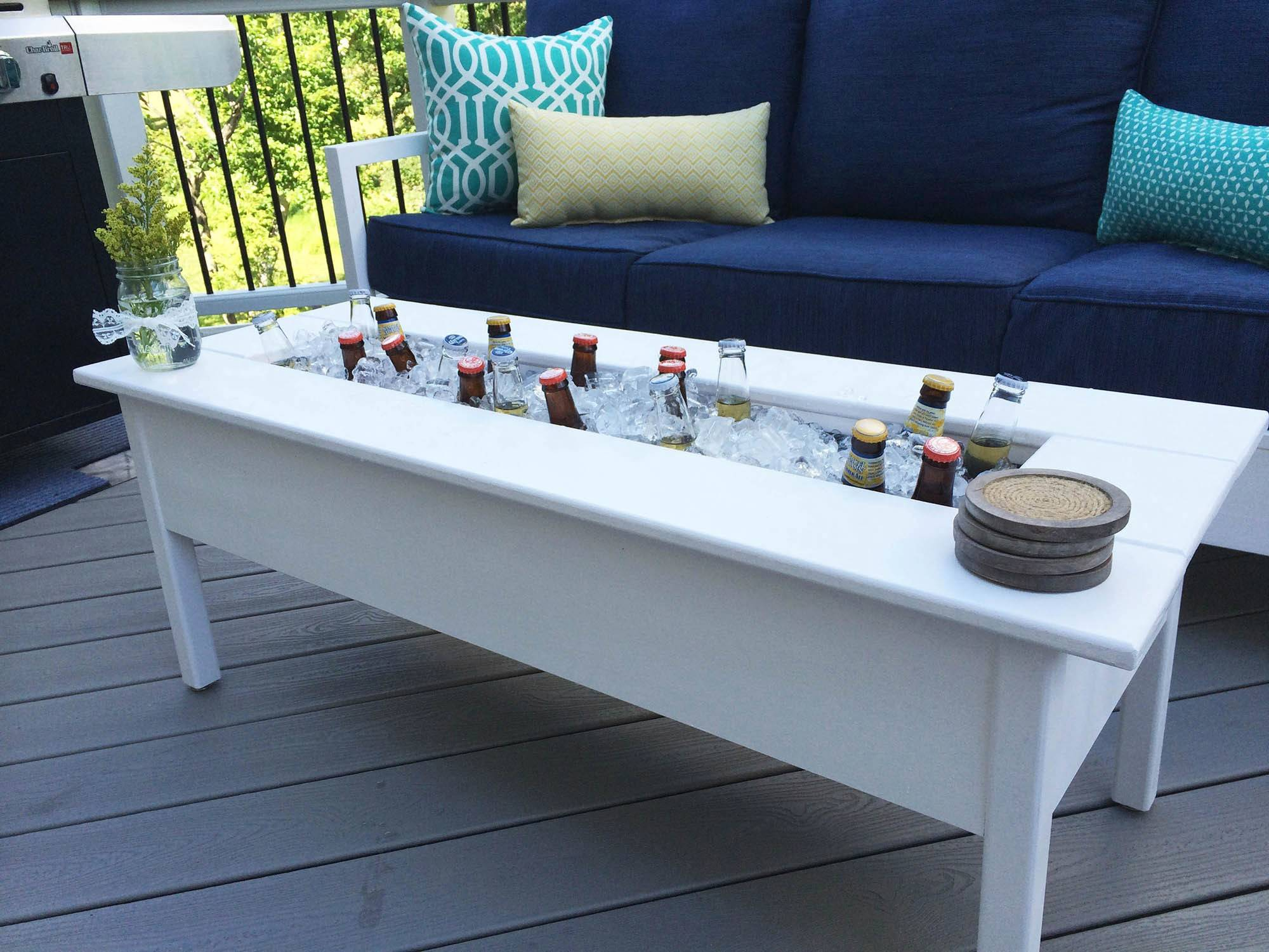 An Outdoor Cooler Coffee Table Has A Removable Center Board To Cover The  Cooler When Itu0027s