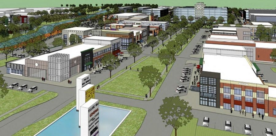"Buffalo Grove trustees on Monday delayed a decision on whether they would ask voters to weigh in on plans for this proposed ""downtown"" development on the site of the current municipal campus and Buffalo Grove Golf Club."