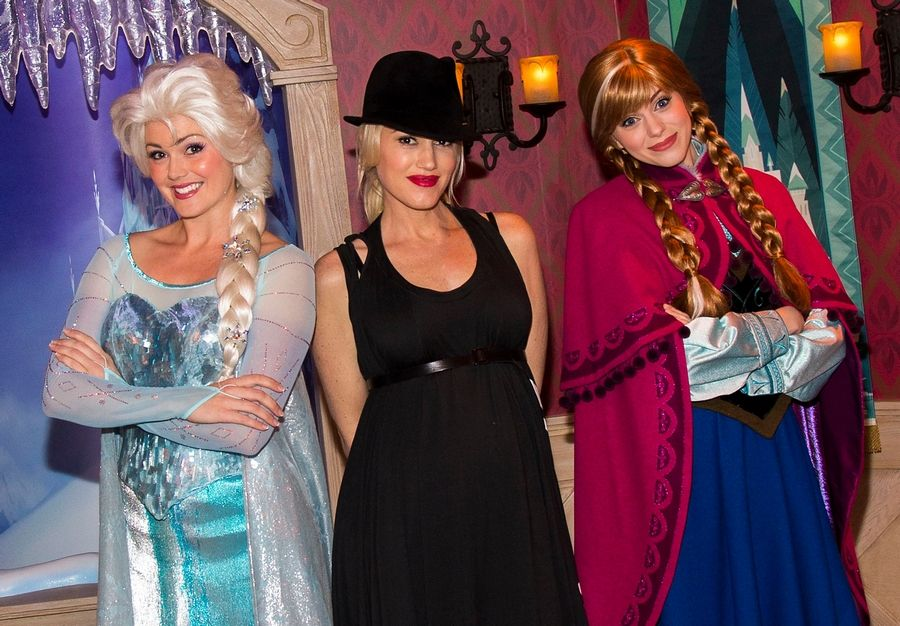 "Even Gwen Stefani has ""Frozen"" fever. Here she is meeting Elsa and Anna at Disneyland late last year."