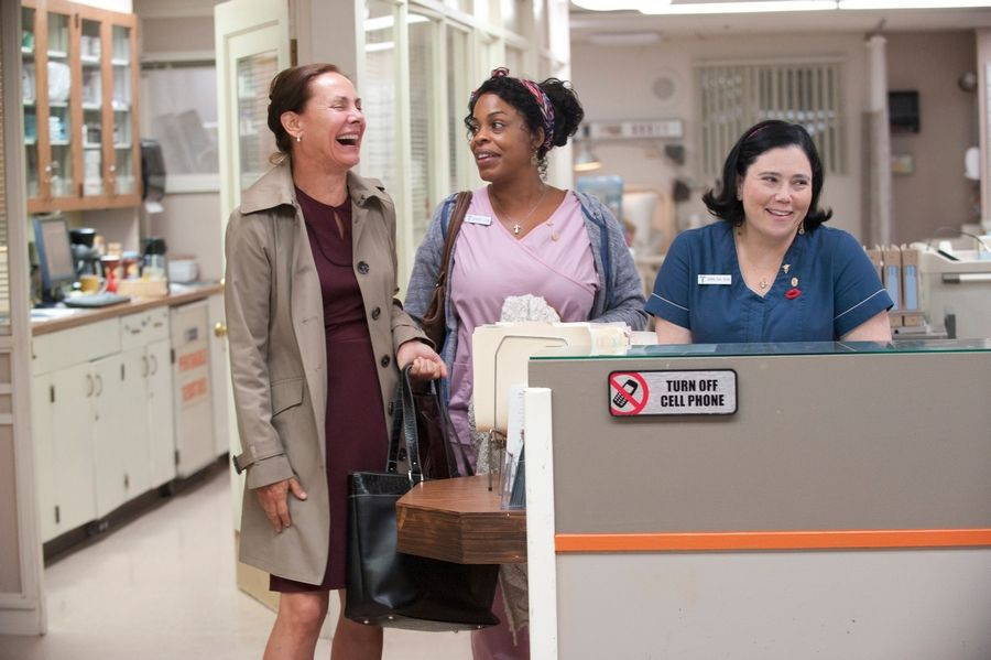 "Alex Borstein, right, a Deerfield native and the voice of Lois on FOX's ""Family Guy,"" stars on HBO's series ""Getting On."" Her co-stars are Laurie Metcalf, left, and Niecy Nash, center."