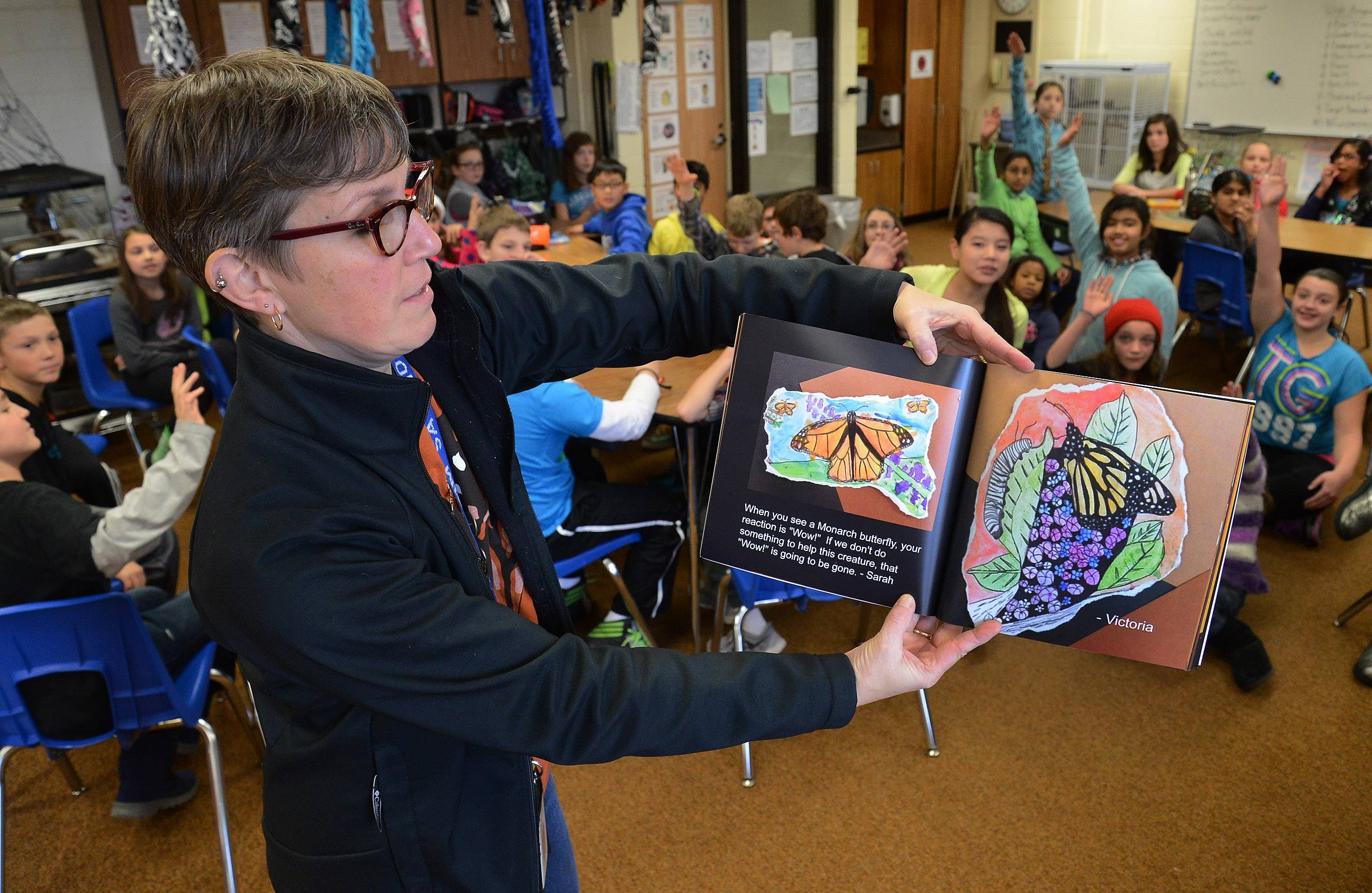 Kim Savino's fifth- and sixth-grade classes at Michael Collins Elementary School in Schaumburg are working on a monarch butterfly project, which included production of this book, which is being sold as a fundraiser.