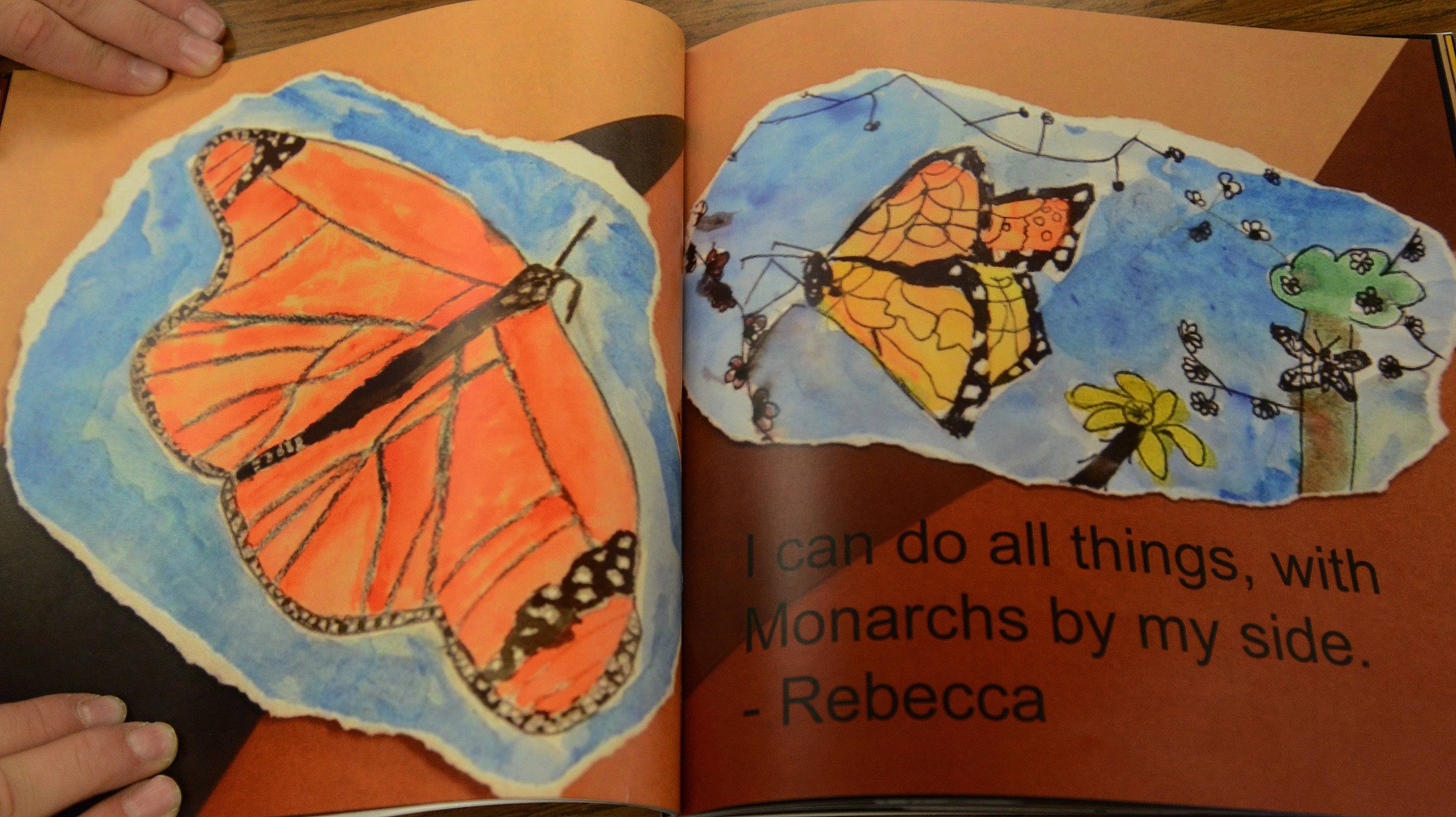 These illustrations are part of the book Kim Savino's fifth- and sixth-grade classes at Michael Collins Elementary School in Schaumburg produced as part of the monarch butterfly project. Money from book sales will be used for the project.