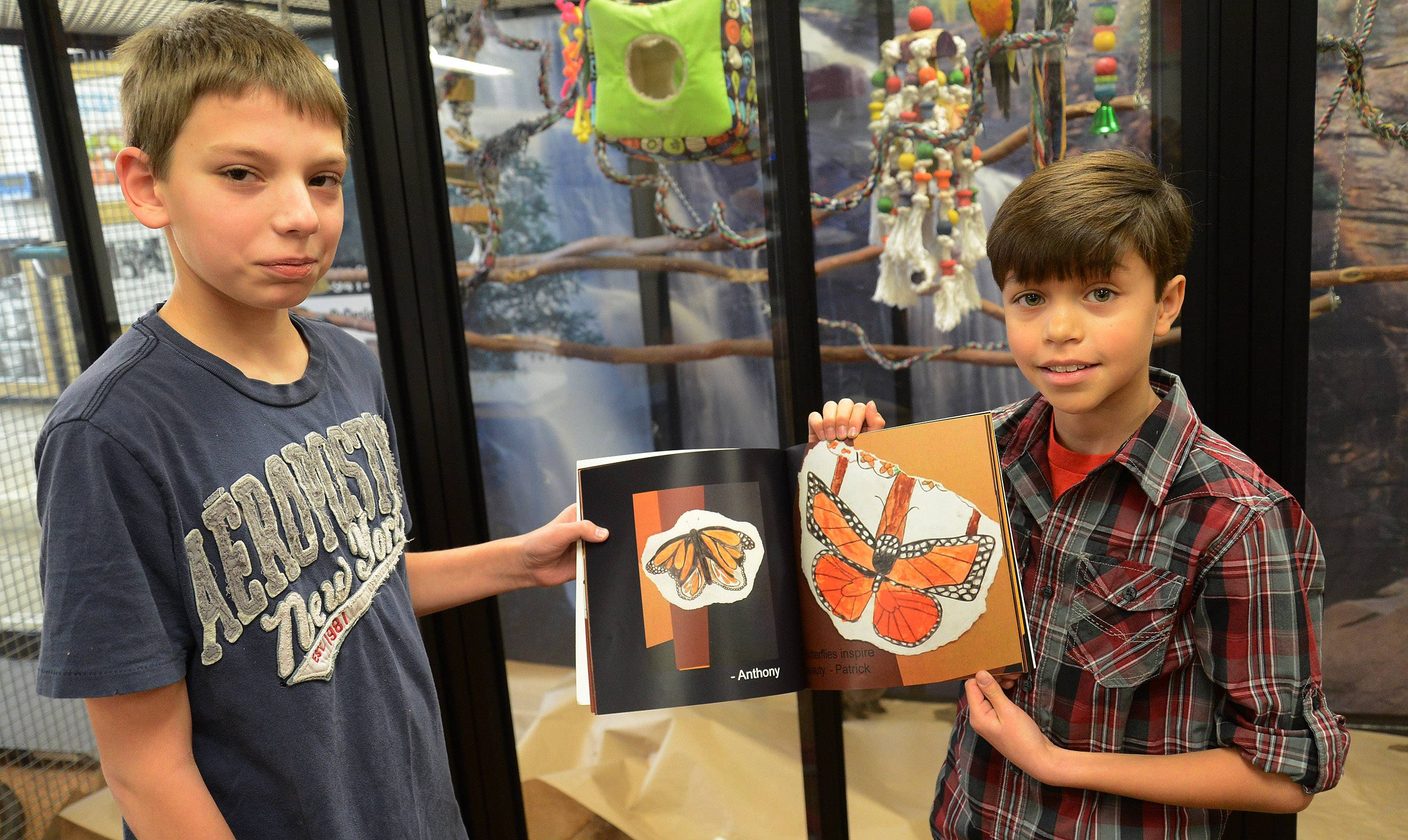 Anthony Folino, left, and Patrick Cadiz show their drawings in the book on monarch butterflies that Kim Savino's classes at Michael Collins Elementary School in Schaumburg has produced.