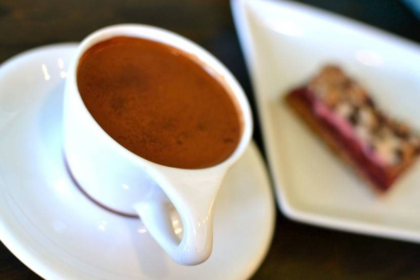 Cashews and cacoa add creamy richness to vegan hot chocolate.
