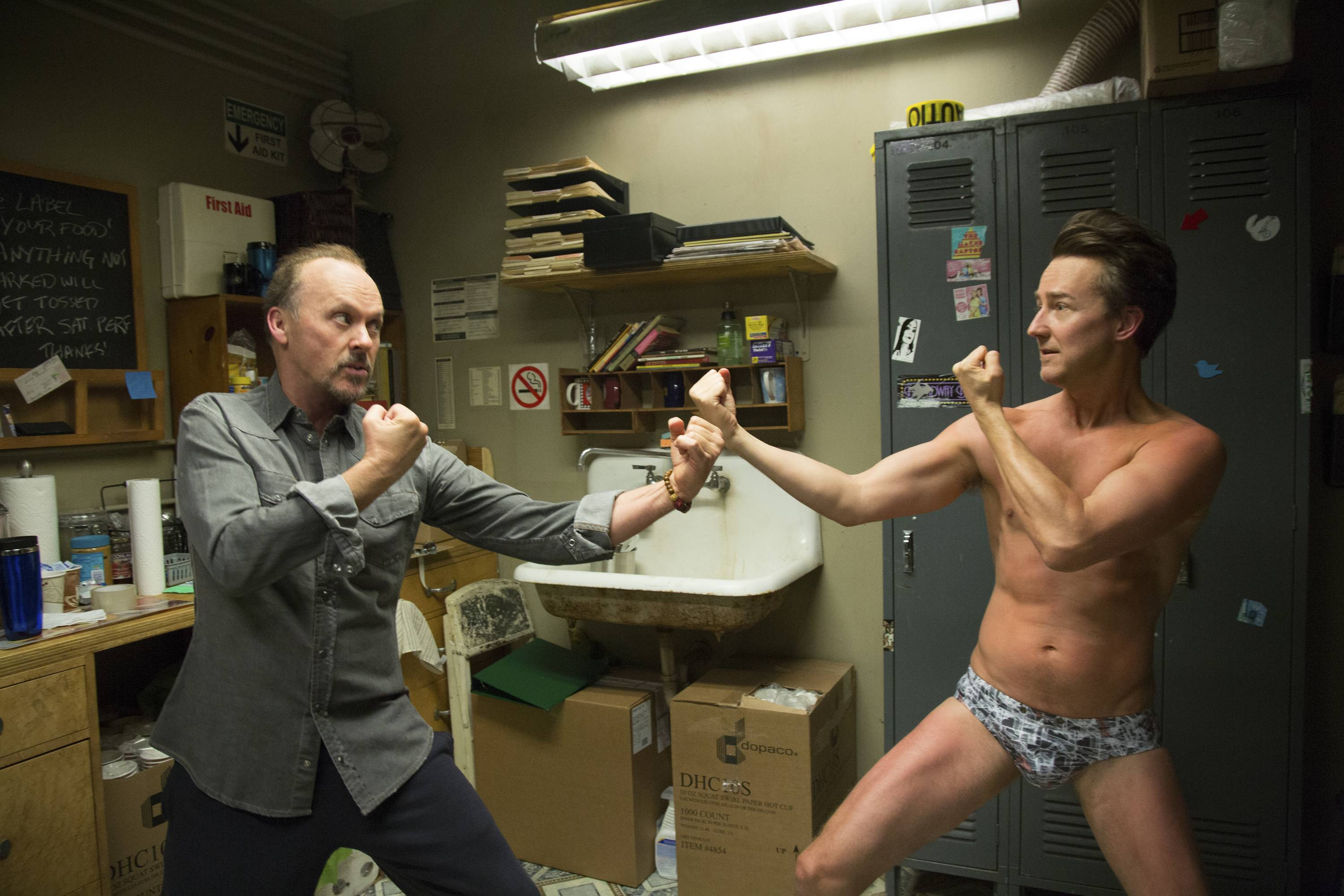 """Birdman,"" starring Michael Keaton, left, and Edward Norton, leads the Golden Globe nominations with seven nods."
