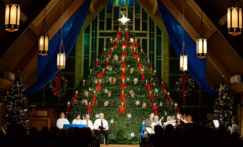 community presbyterian church in mount prospect will reprise its living christmas tree performance on saturday and - Living Christmas Tree