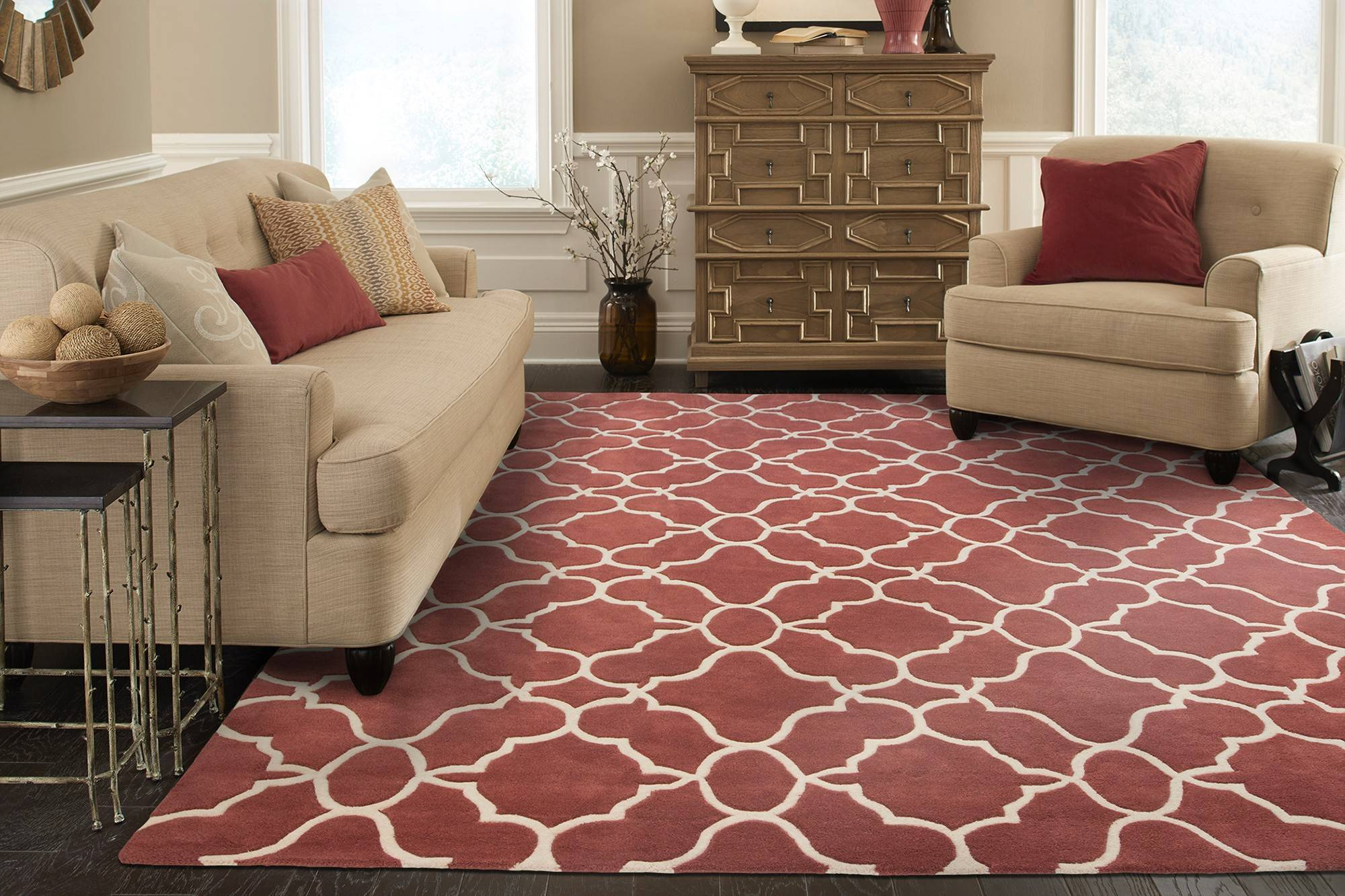 Marsala Pantone Rug Color of the Year 2015 Neutral Living Room with Marsala Accents 18-1438