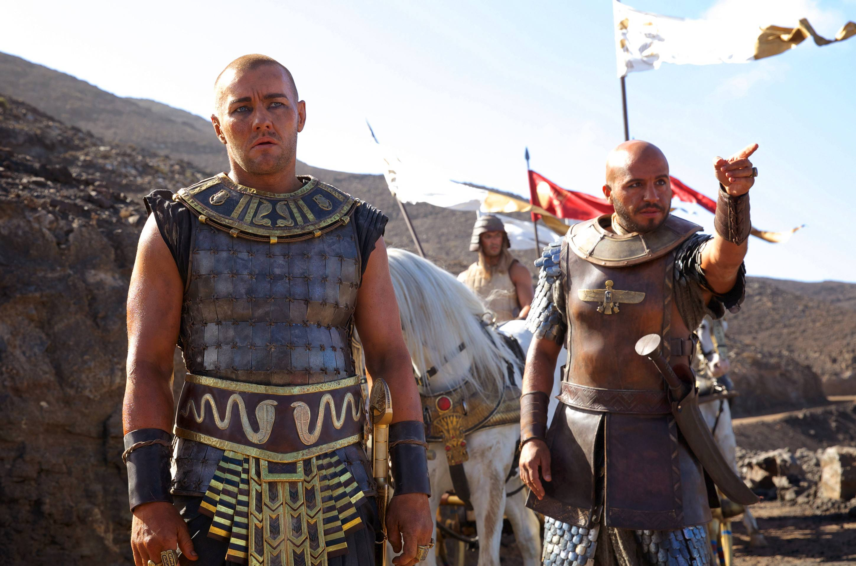 "Joel Edgerton, left, and Dar Salim star in ""Exodus: Gods and Kings,"" which captured the No. 1 spot at the box office in its first weekend of release."