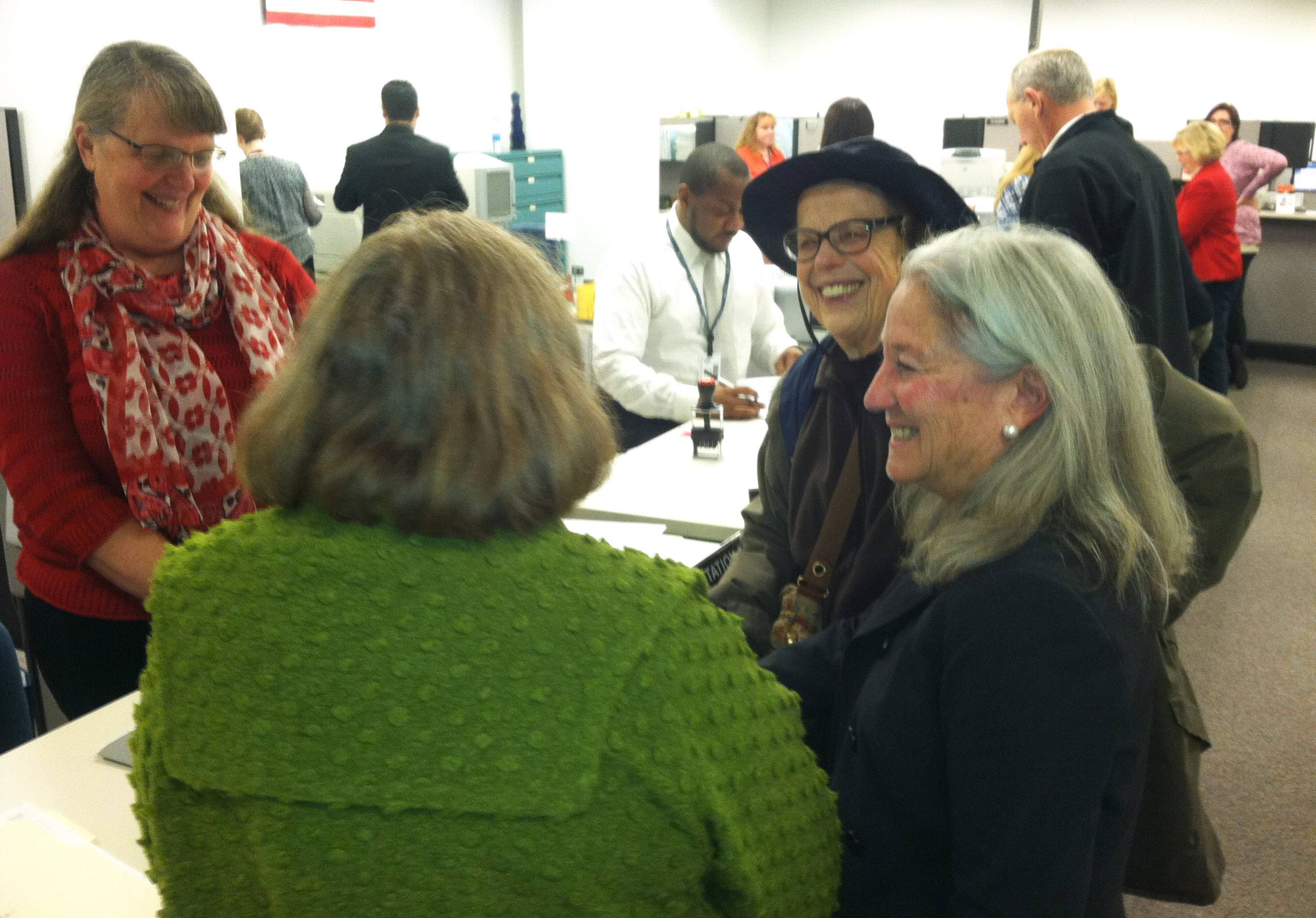 Lake County Clerk Carla Wyckoff, right, during Monday morning candidate filing process.