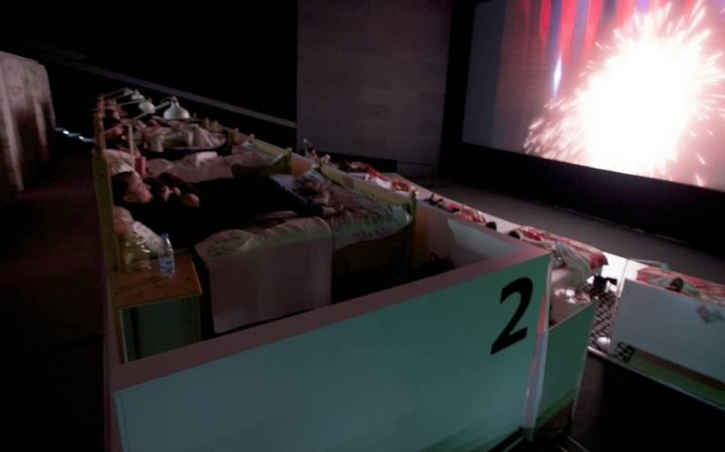 Movie Slumber Party Beds Replace Theater Seats