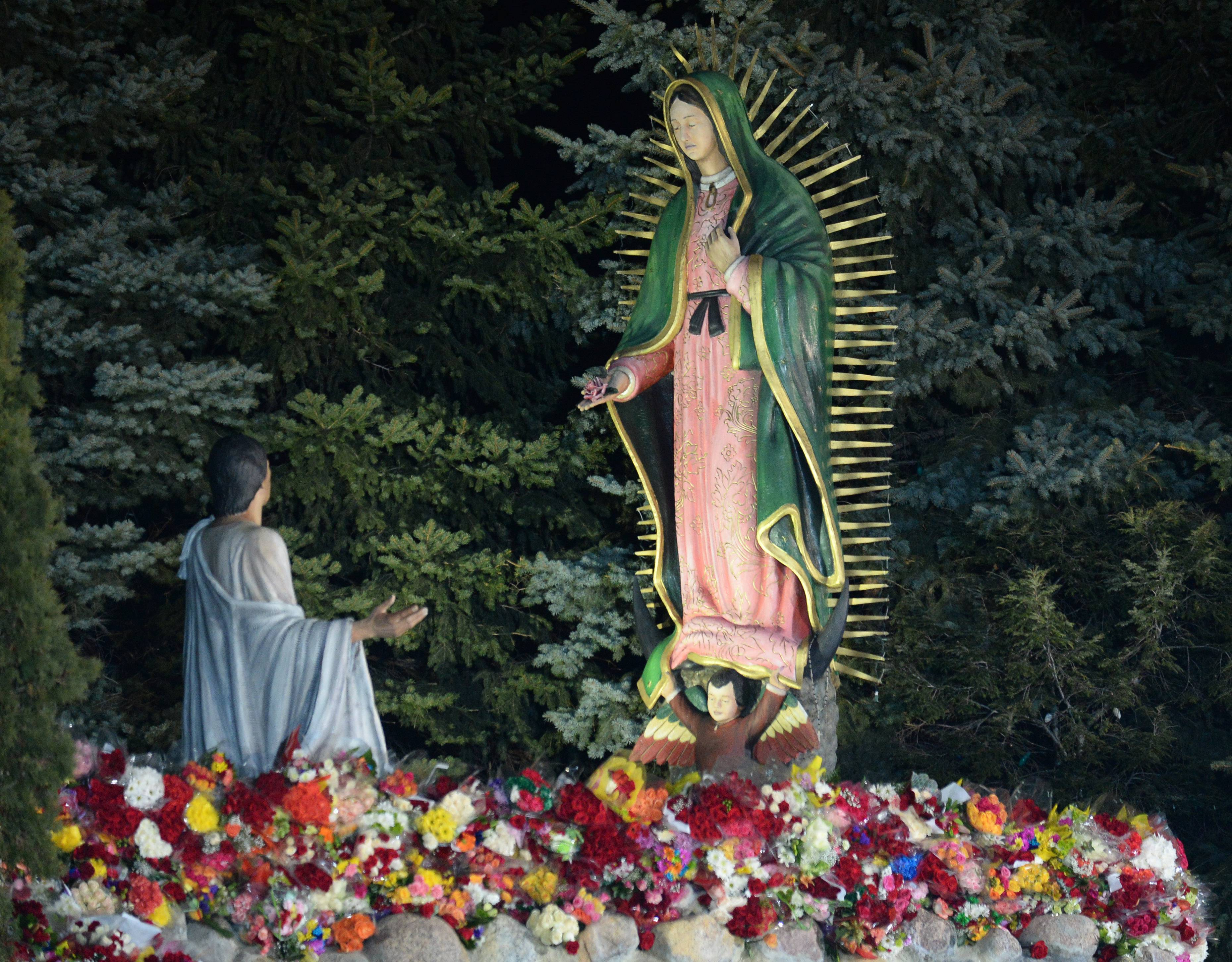 Thousands of flowers lay at the base of the replica statues of Our Lady of Guadalupe and Saint Juan Diego, which form the centerpiece of the shrine in Des Plaines.