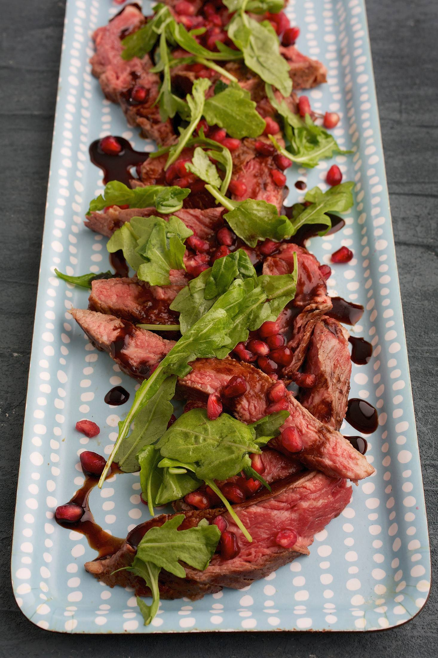 Seared Beef With Pomegranate and Balsamic Dressing