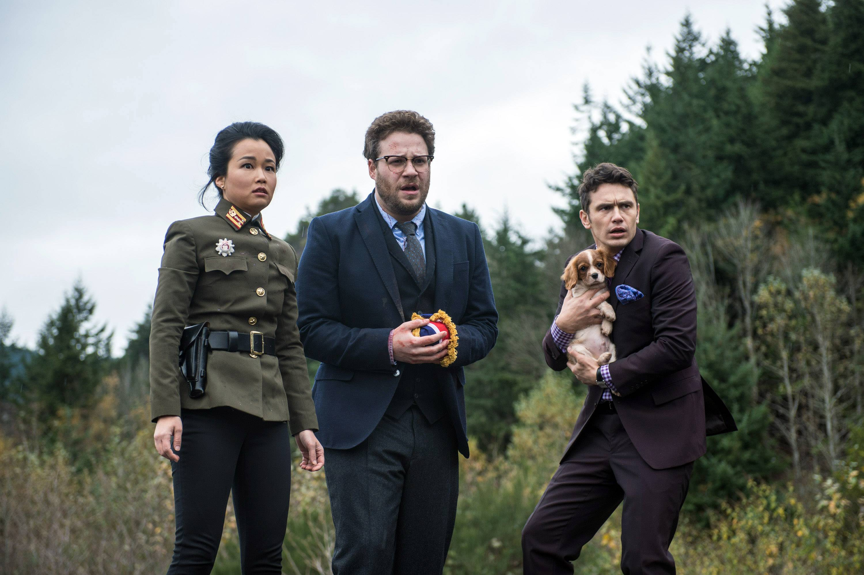 "From left, Diana Bang, as Sook, Seth Rogen, as Aaron, and James Franco, as Dave, in ""The Interview."" Hackers have sent a new email to Sony Pictures Entertainment, gloating over the studio's ""wise"" decision to cancel the release of ""The Interview"" and warning not to distribute the film ""in any form."""