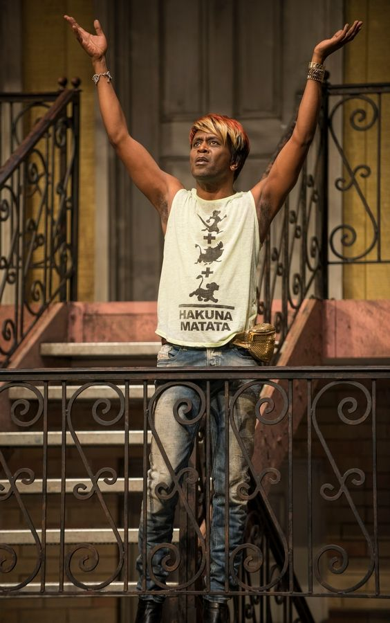 "Sissy Na Na (Steppenwolf Theatre's K. Todd Freeman) celebrates the outcasts and fringe dwellers who reside along the ""Airline Highway,"" Lisa D'Amour's new drama directed by Joe Mantello."