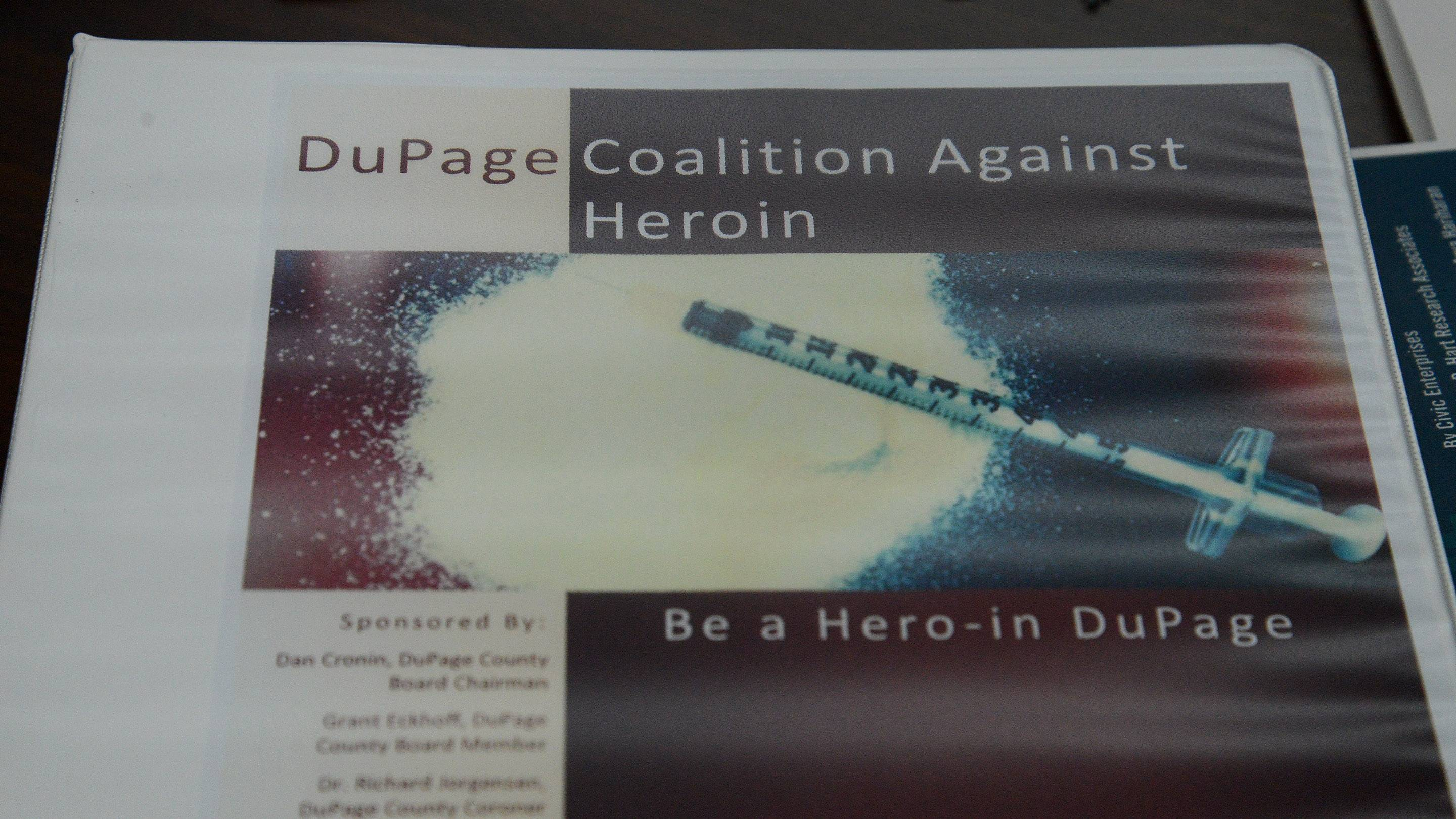 Every school in DuPage County received this binder, which contains pages of information about heroin that could be printed out and distributed to students or parents.