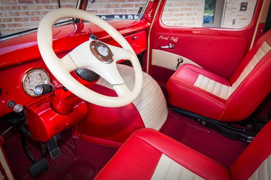 The interior was completely rebuilt with custom seats and gauges.