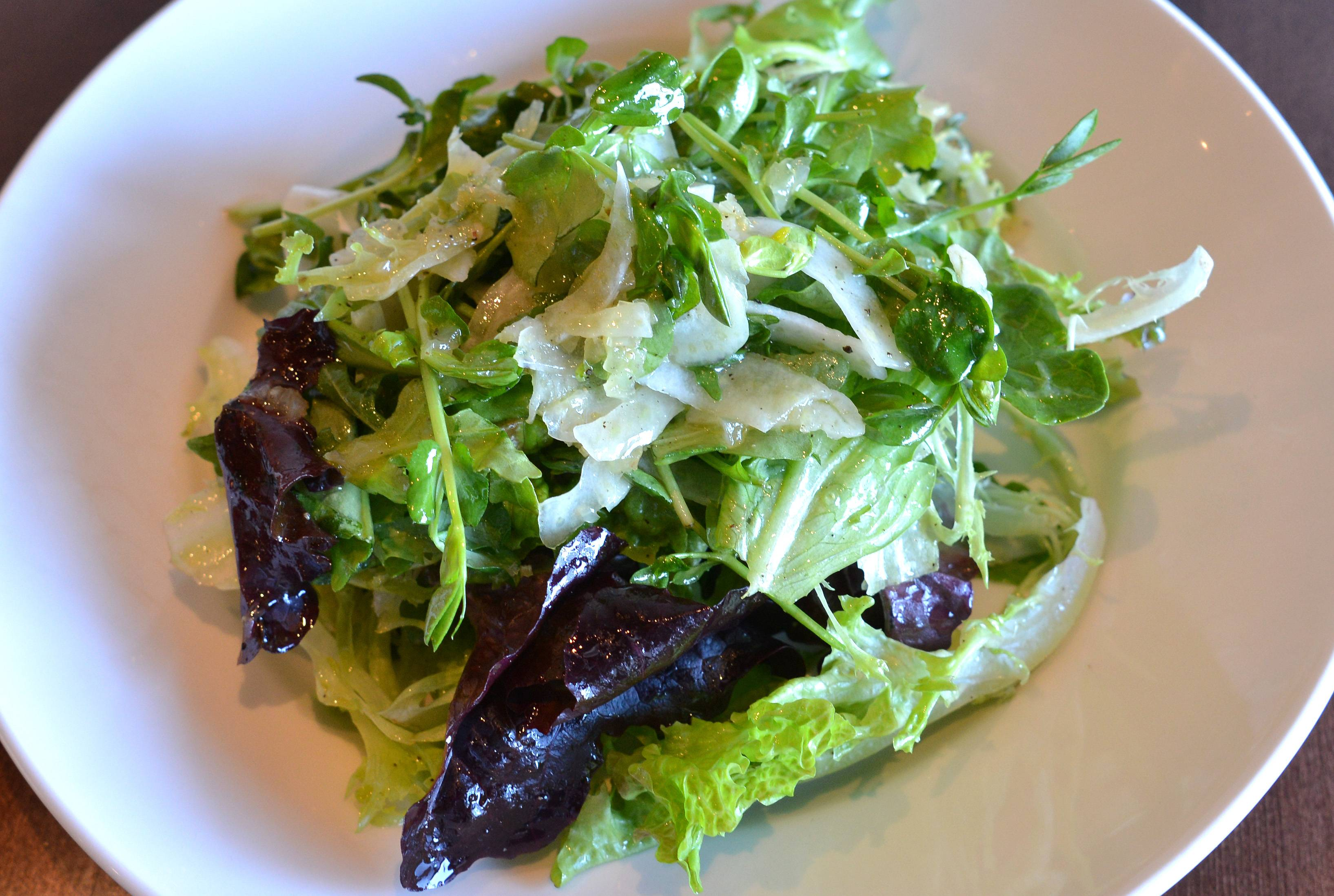 Hyper seasonal dishes, like this salad of local lettuces with lemon vinaigrette with shaved fennel, are the trademark of Vistro in Hinsdale.