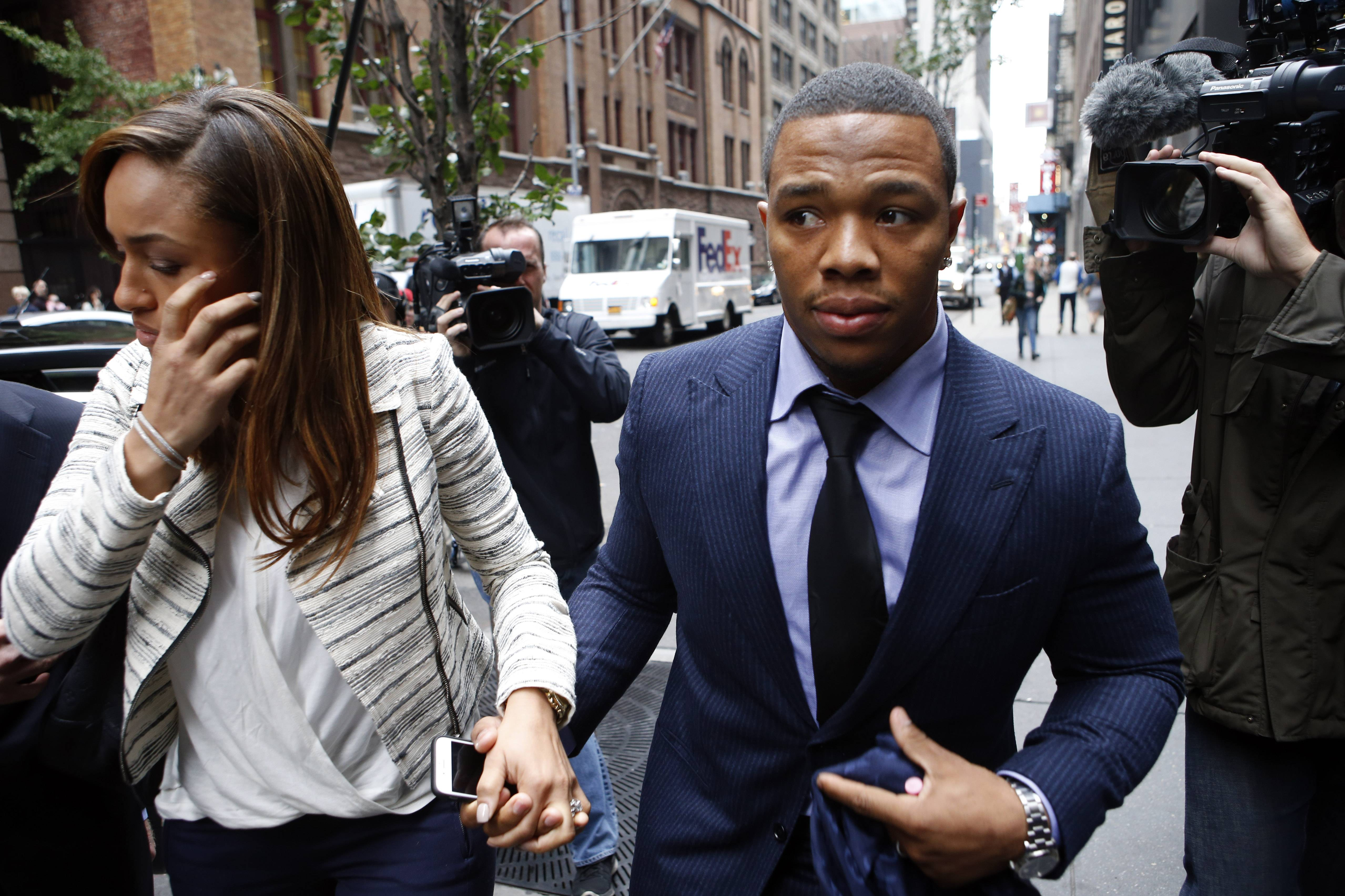 Domestic violence was big news when there was a Ray Rice (here with his wife, Janay Palmer, in November) video going viral, but the media has moved on — until the next big scandal.