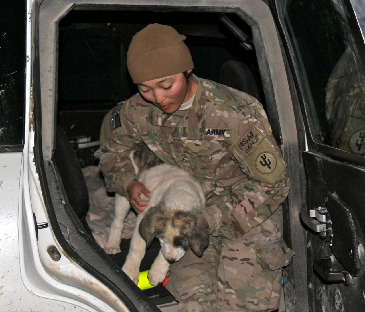 Wheaton native Army Spc. Maryann Yang relied on Puppy Rescue Mission's foster families to care for Patches while she finished her deployment in Afghanistan.