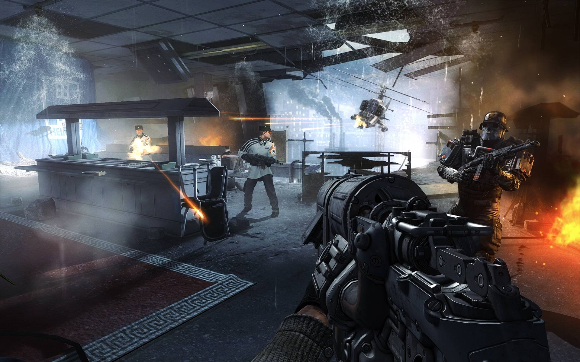 "This file image released by Bethesda Softworks shows resistance fighters battling German troops in Nazi-occupied London in a scene from the video game, ""Wolfenstein: The New Order."""