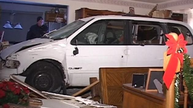 A minivan crashed into a house in Bloomingdale, rolled through two rooms and entered a third room before stopping.