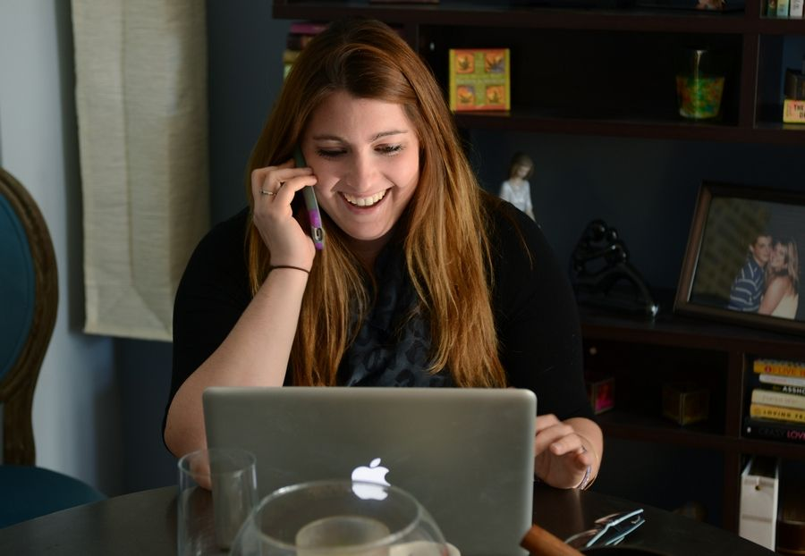 Chelsea Laliberte, executive director of Live4Lali, works from her Palatine home where she spends a lot of time making phone calls and answering emails.