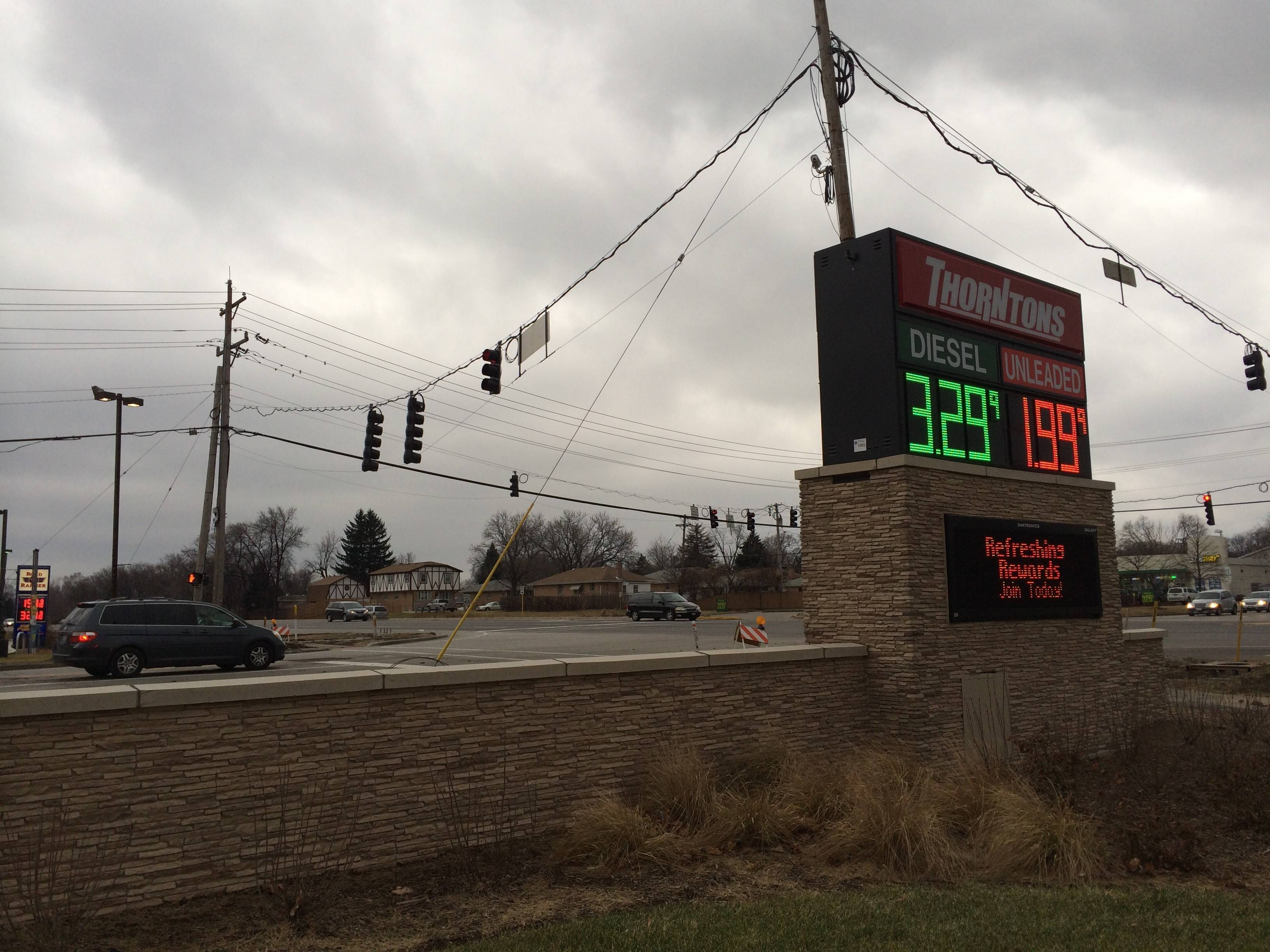 Three out of the four gas stations at Route 83 and Foster Avenue — including Thorntons — offered $1.99 a gallon Saturday.