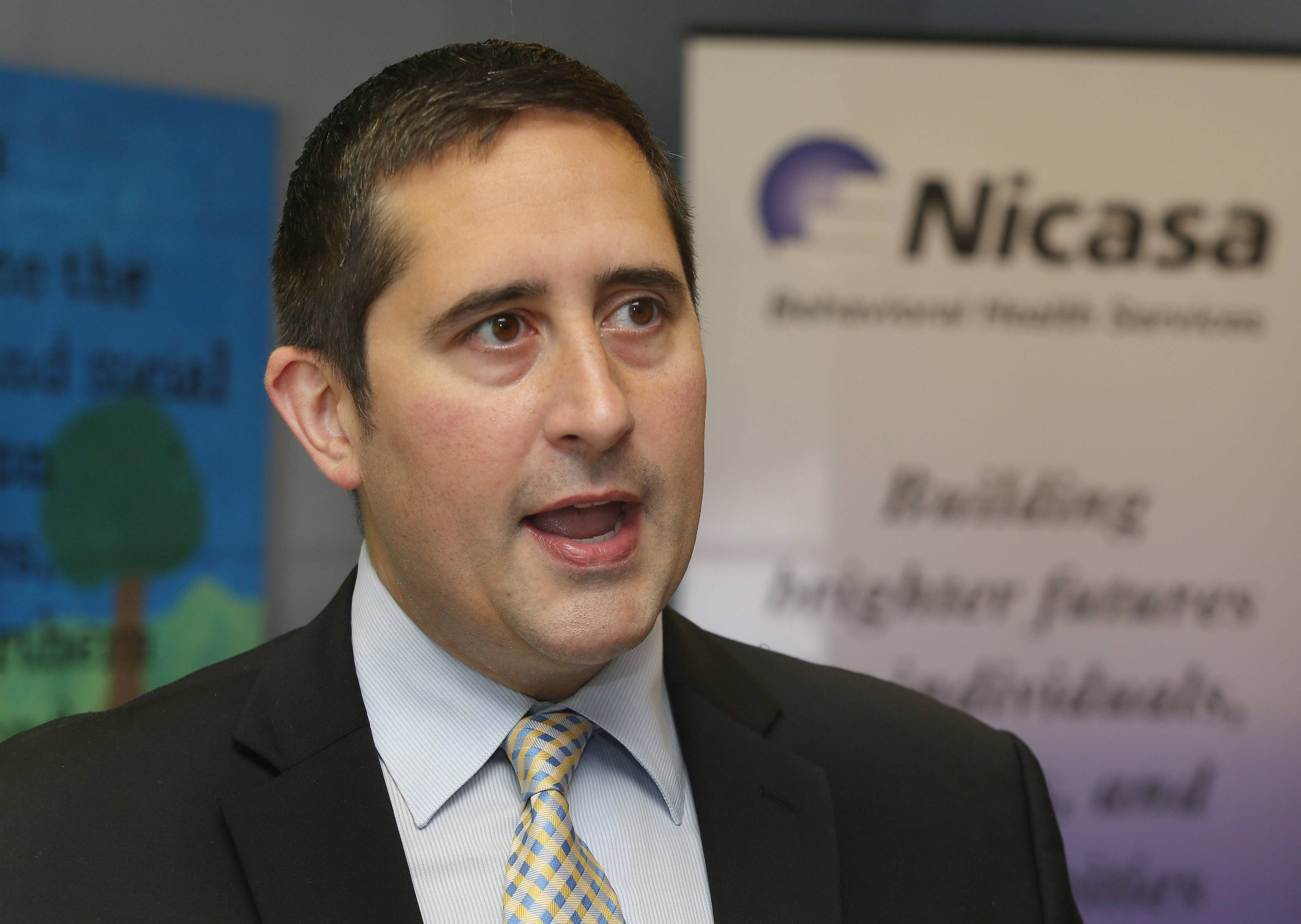 62nd District state Rep. Sam Yingling of Grayslake discusses the problem of heroin use in Illinois during a visit to Nicasa Behavioral Health Services in Round Lake. Yingling is the chairman of the state legislature's heroin task force.