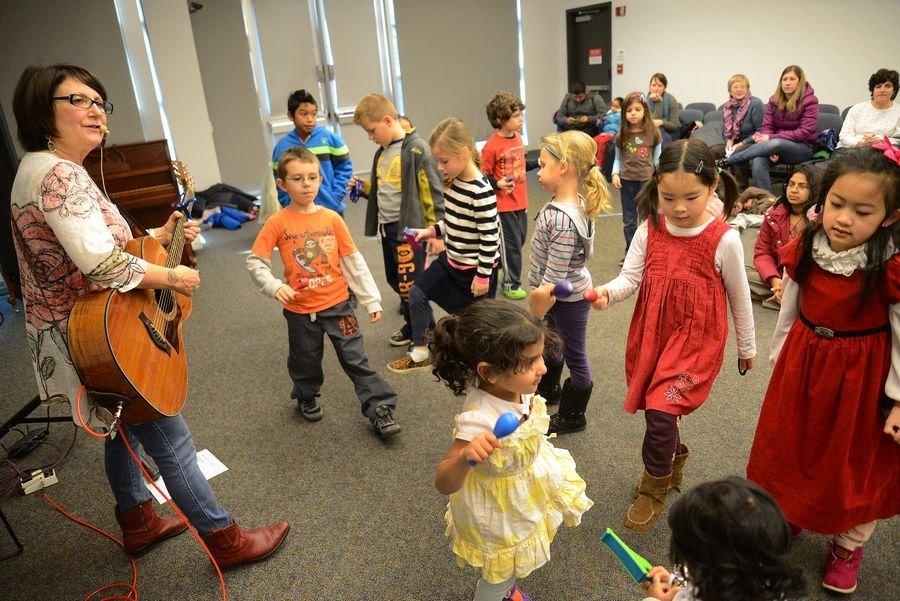 "Jodi Koplin of Riverwoods performed her program, Jiggle Jam, an interactive ""MusicFest for Children"" at the Indian Trails Public Library District in Wheeling on Tuesday."