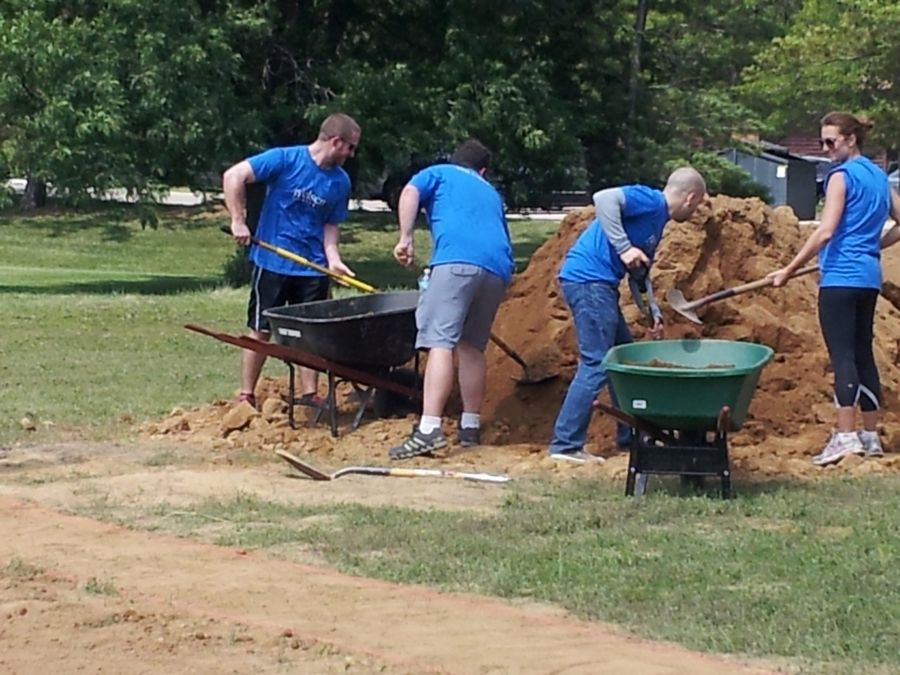 Neilsen employees help build a baseball diamond at Little City in Palatine, a project coordinated by Hands On Suburban Chicago. The Arlington Heights-based nonprofit organization has nearly 500 different volunteering opportunities available across the suburbs.