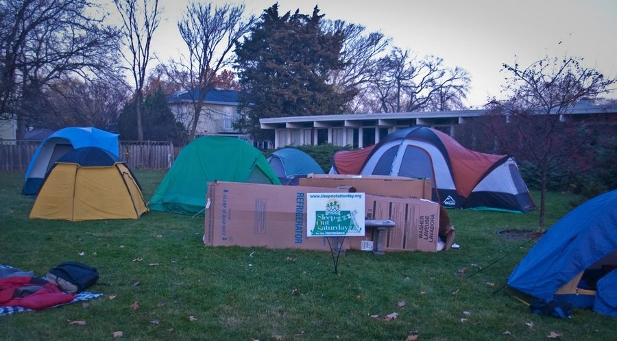 As part of Bridge Communities' annual Sleep Out Saturday fundraiser, participants will spend the night outside in cardboard boxes, tents or cars at sites throughout DuPage County to help raise awareness about homelessness.