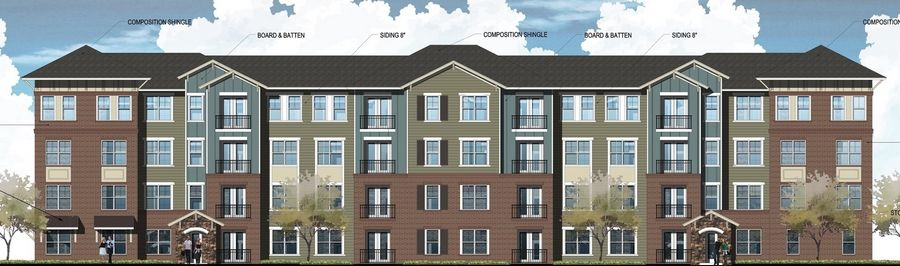 A rendering of one of the six apartment buildings proposed for a 6.5-acre site at 680 E. Algonquin Road in Schaumburg.