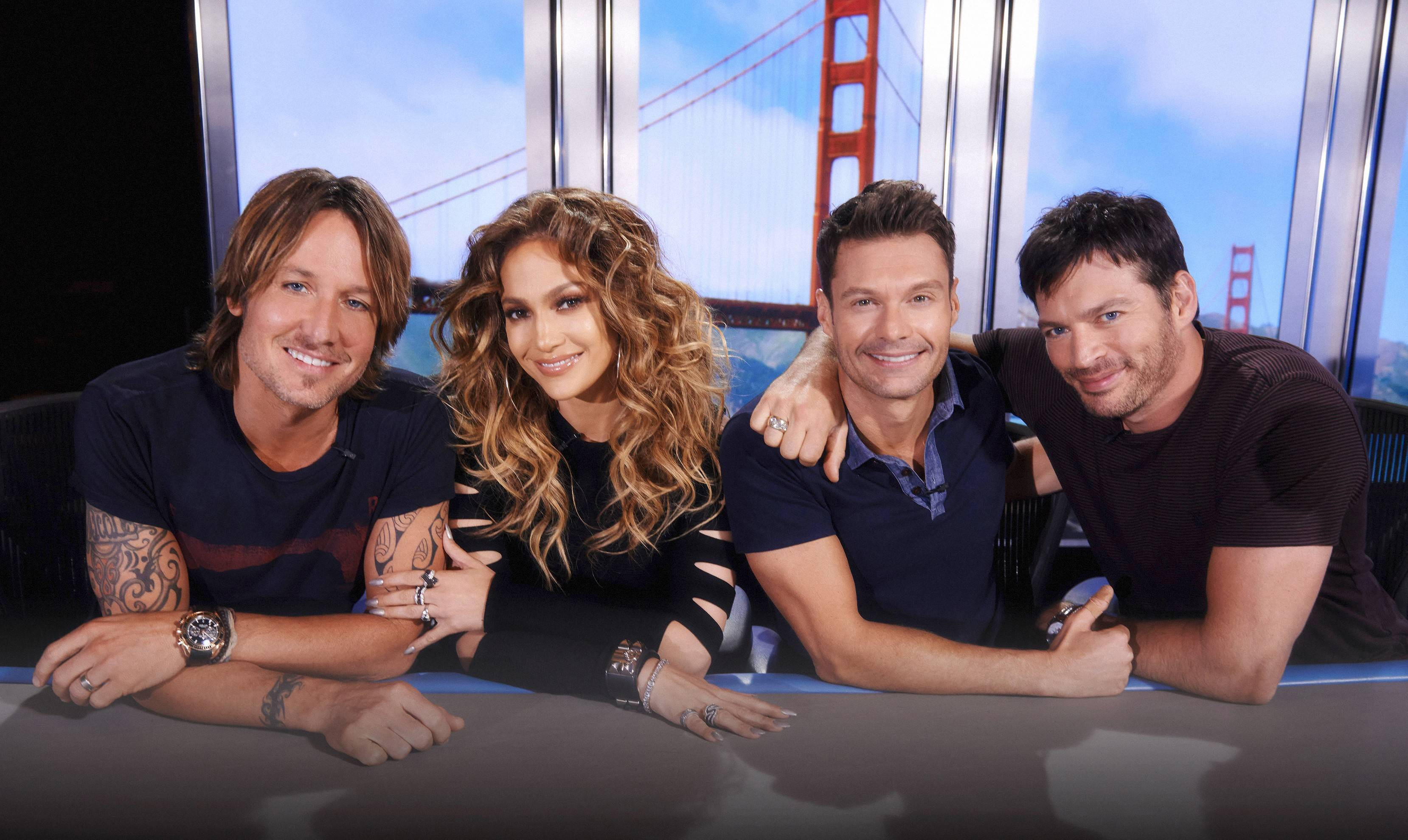 "Returning to Fox's ""American Idol"" this season are judges Keith Urban, left, and Jennifer Lopez, host Ryan Seacrest and judge Harry Connick Jr."