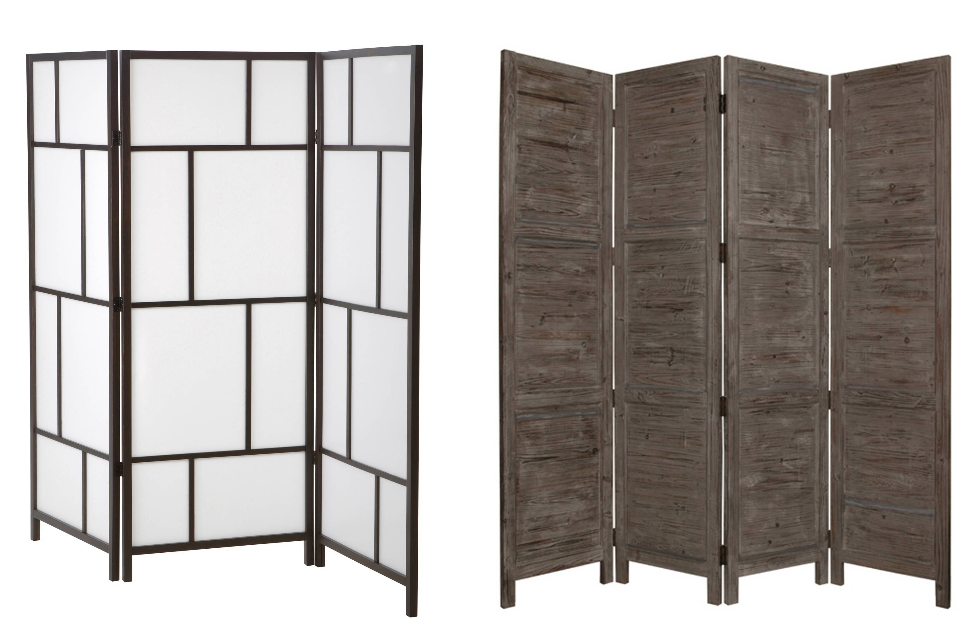 At left, IKEA's Riser room divider appeals to modern tastes. Screen Gems' rustic Nantucket room divider, right, comes in six colors.