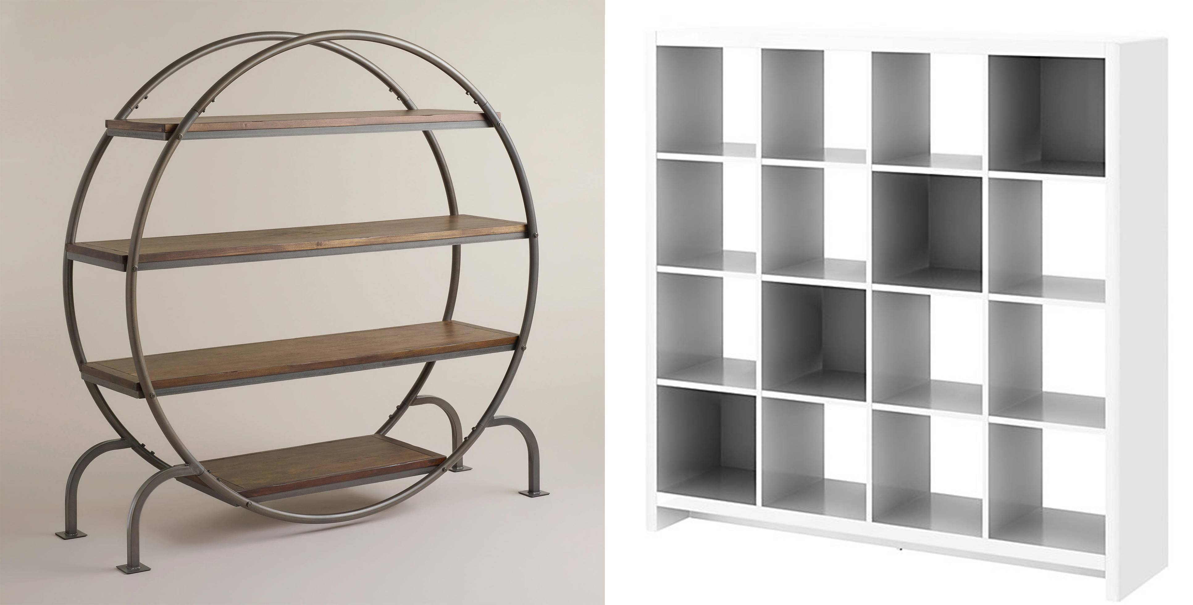World Market's Round Bookcase, left, has an open, industrial look. At right, Kathy Ireland's New York Skyline shelving unit.