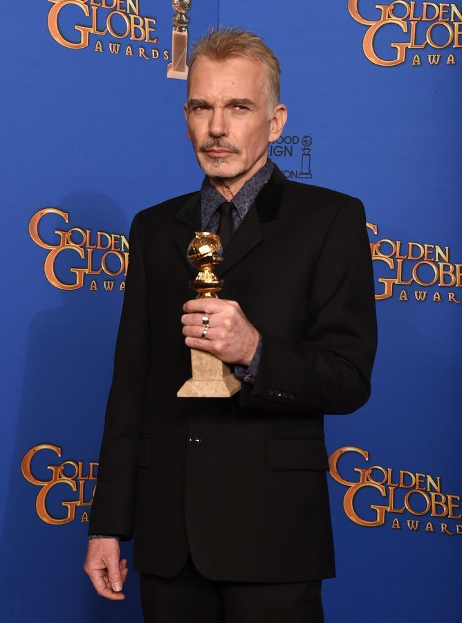 "Billy Bob Thornton poses in the press room with the award for best actor in a miniseries or television film for ""Fargo"" at the 72nd annual Golden Globe Awards."