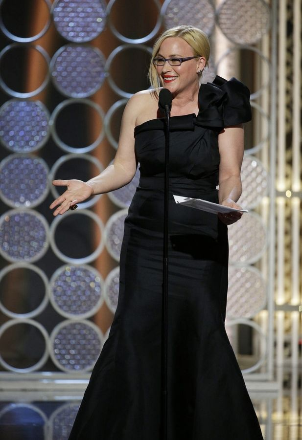 "In this image released by NBC, Patricia Arquette accepts the award for best supporting actress in a film for her role in ""Boyhood"" at the 72nd Annual Golden Globe Awards."