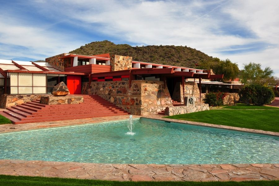 Taliesin West, the winter home of Frank Lloyd Wright near Scottsdale, Ariz., is open for tours. The buildings also house his prestigious architecture school.