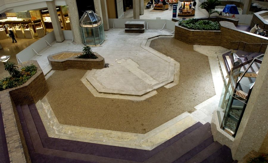 Woodfield Mall is about to begin a major renovation of its interior common areas. This photo shows the start of a more minor upgrade that took place 11 years ago.