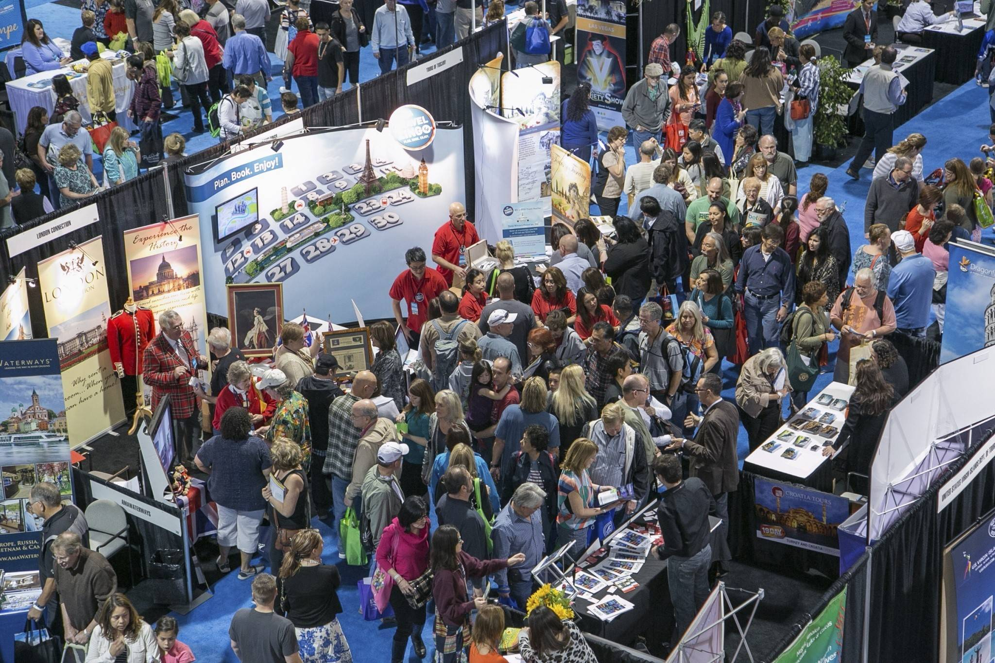 The floor of the Chicago Travel & Adventure Show, now in its 11th year.