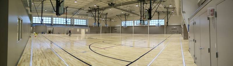 Gym expansion complete at foglia ymca in lake zurich for Basketball gym dimensions