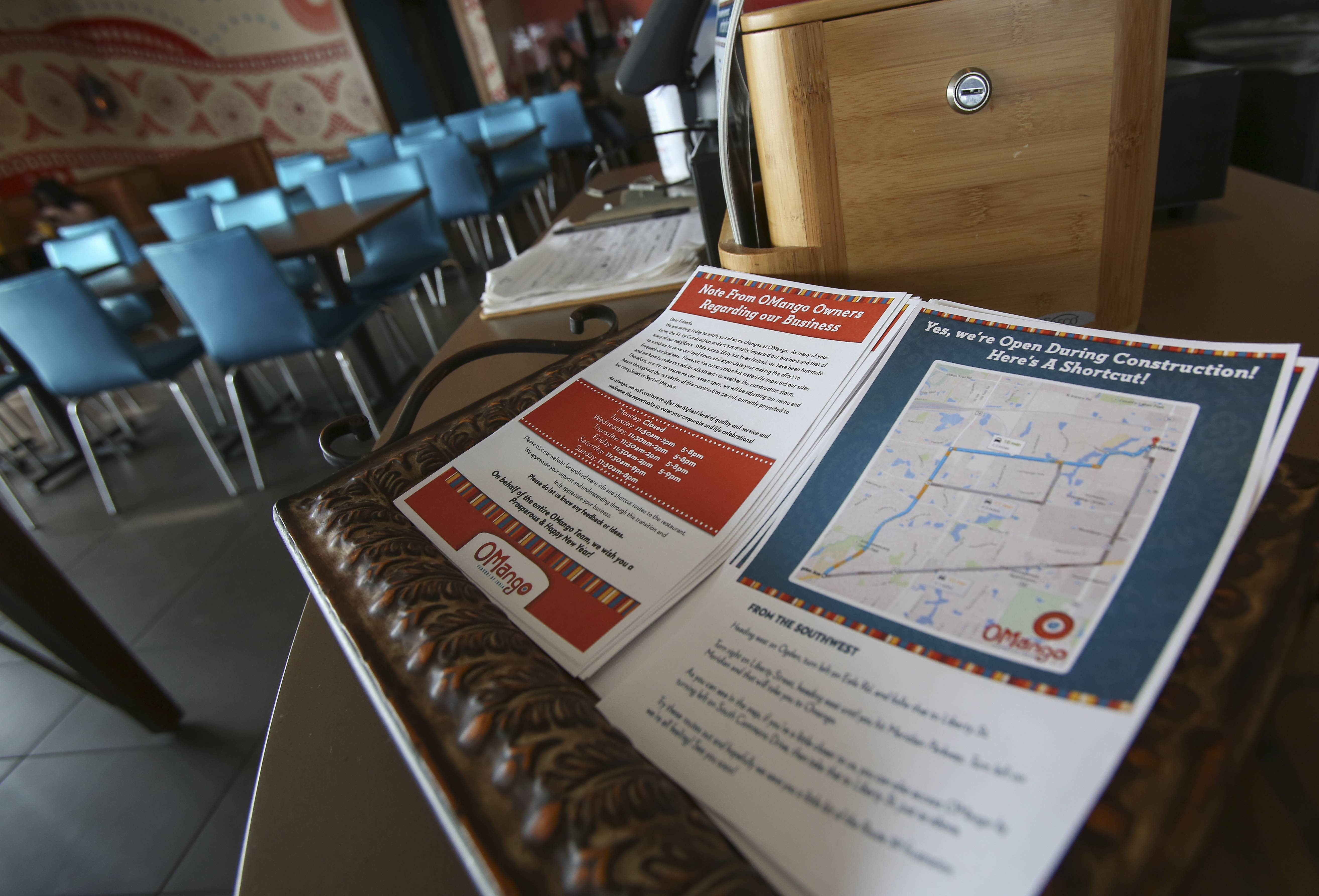 OMango Indian restaurant in Aurora is distributing a map showing shortcuts to the restaurant to avoid the ongoing road work to widen a three-mile stretch of Route 59 on the Naperville/Aurora border.
