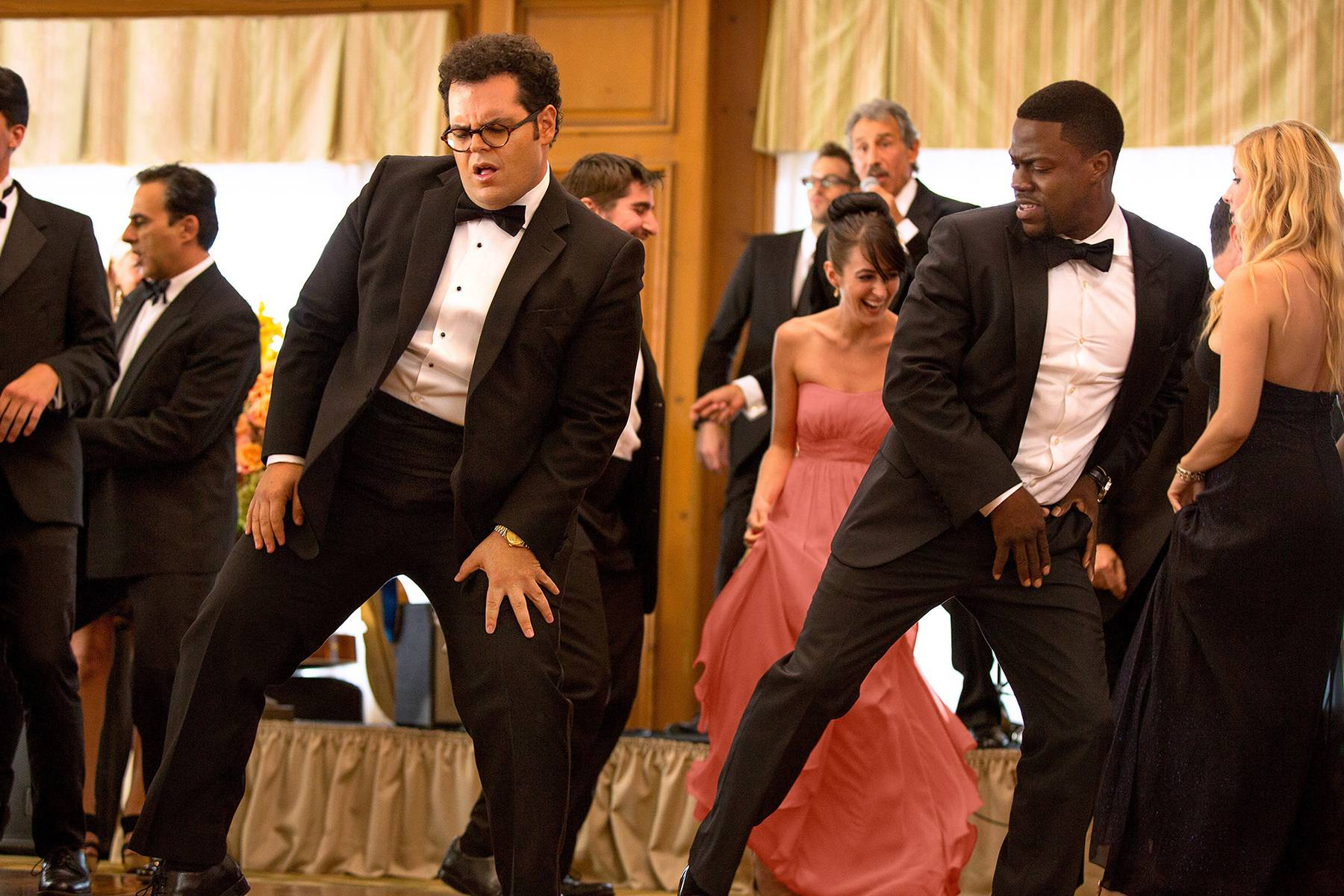 "With his wedding approaching, a shy but successful introvert (Josh Gad), left, hires a fake best man (Kevin Hart) to impress his new family in the comedy ""The Wedding Ringer."""
