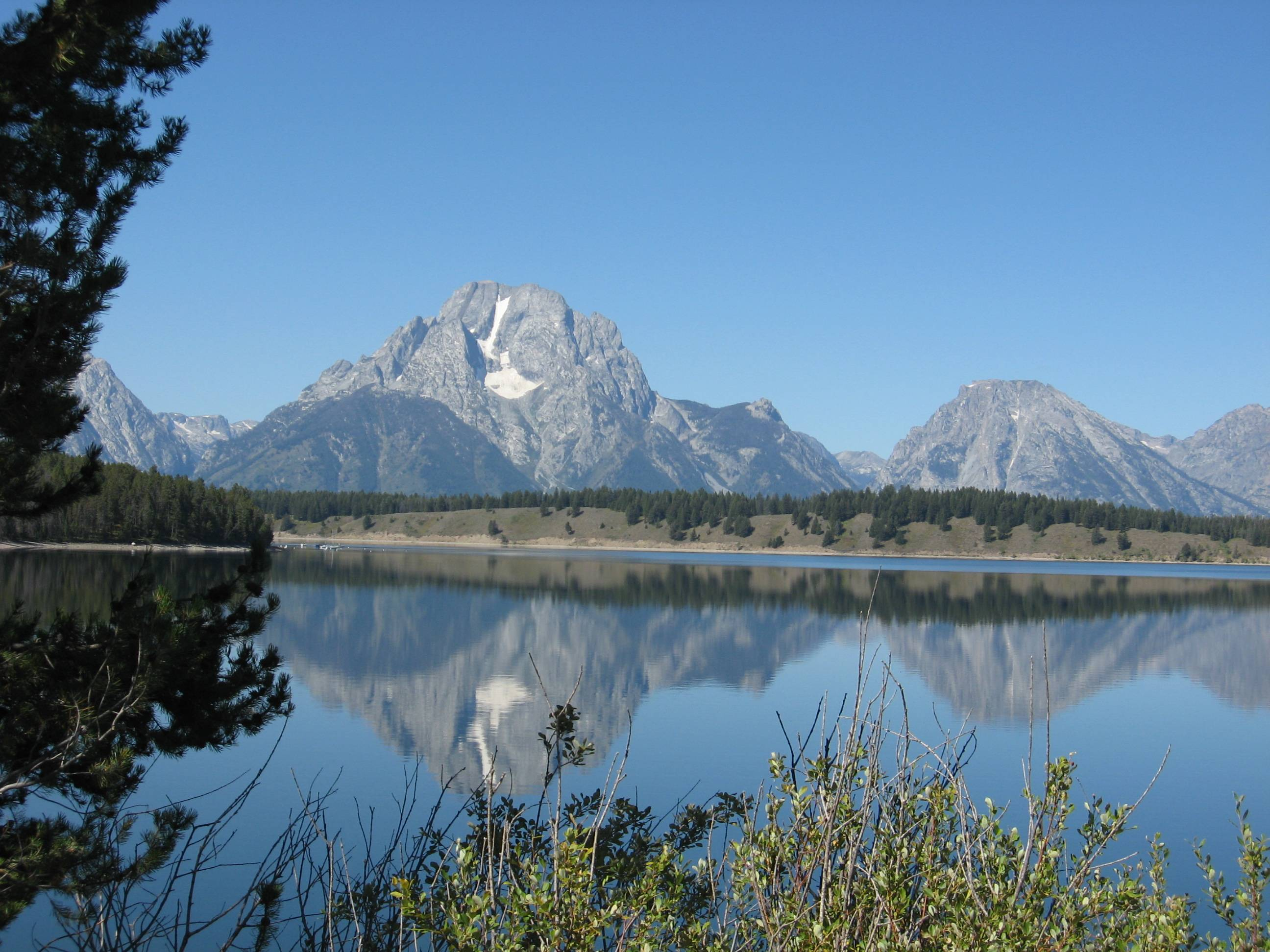On a beautiful, sunny, clear September visit to the Tetons, I was able to get this majestic reflected view.