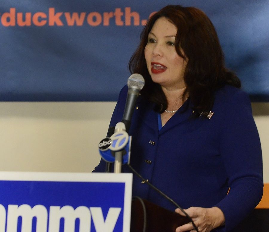 U.S. Rep. Tammy Duckworth of Hoffman Estates talks to supporters after winning the 8th District race in November.