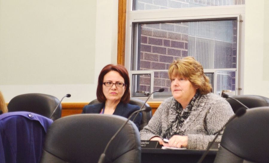 Kane County Elections Director Suzanne Fahnestock, left, listened Thursday as Chief Judge Judith Brawka explained the complex history of the Aurora Election Commission. The pair said it will be difficult to disband the commission, but county board members said they wanted to investigate further.