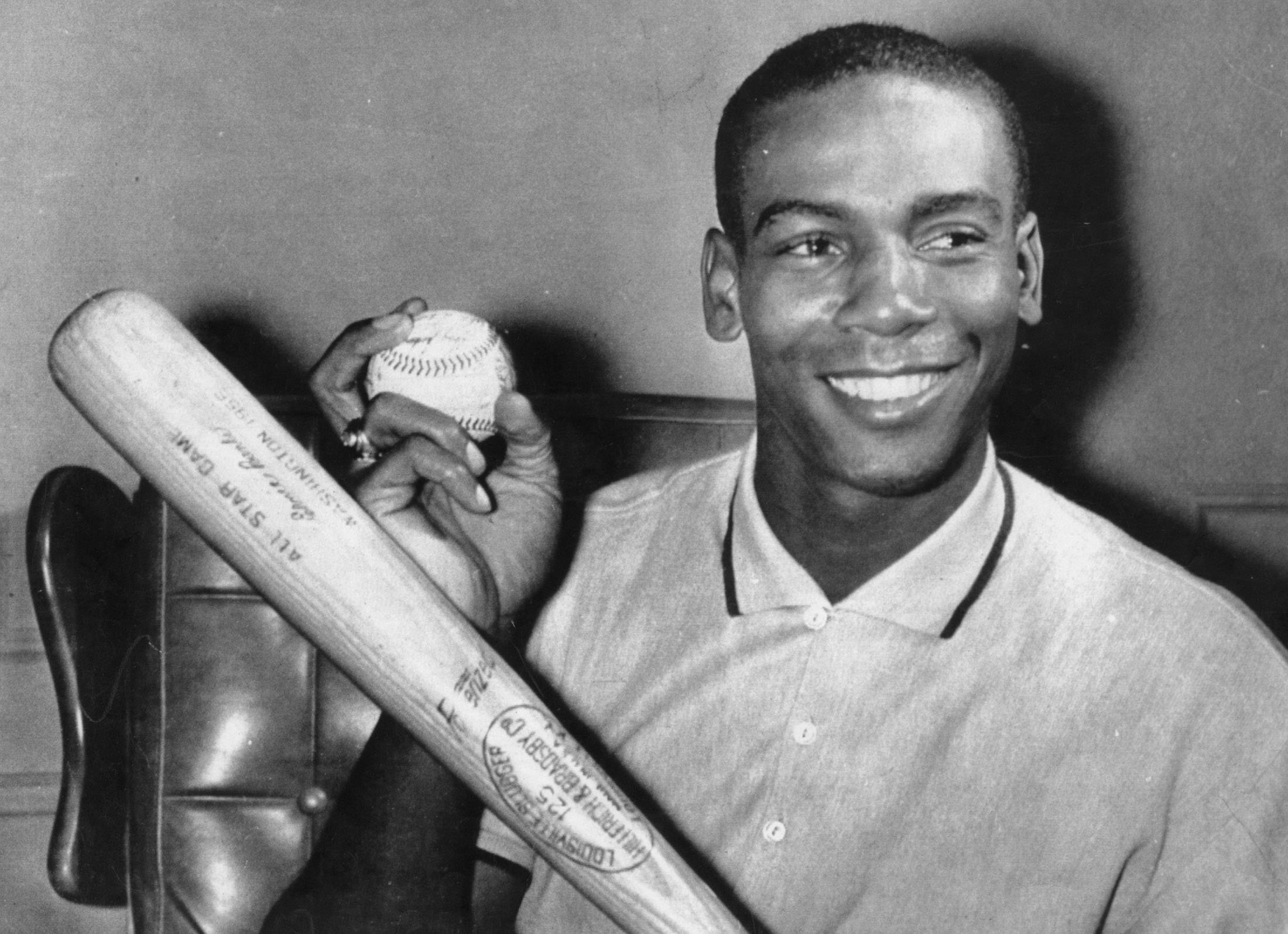 Ernie Banks in 1958 after he was named the National League's Most Valuable Player. He also won the MVP award in 1959 to become the first player to win in two consecutive years.
