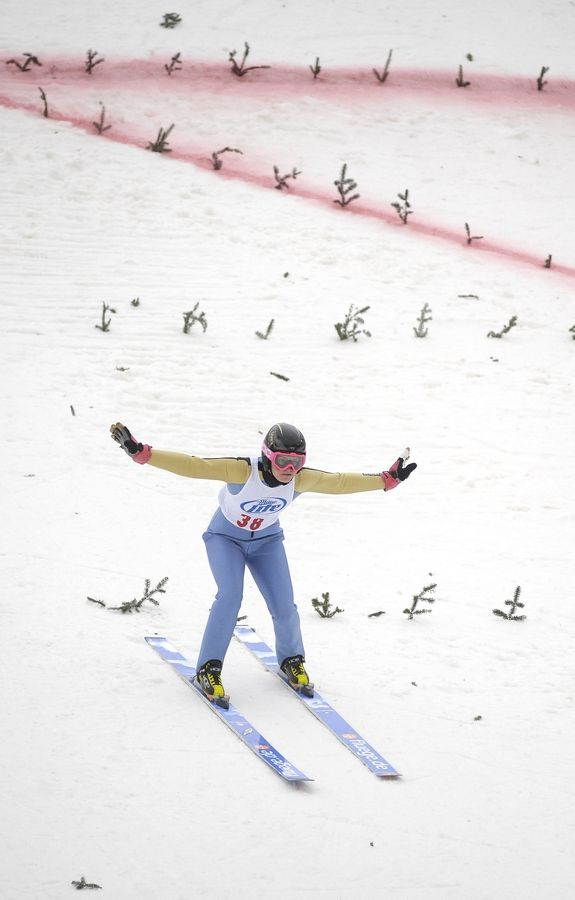 Gabby Armstrong of Lake Placid, New York, competes on the 70-meter hill Saturday at the Norge 110th Annual International Ski Jump Tournament in Fox River Grove.